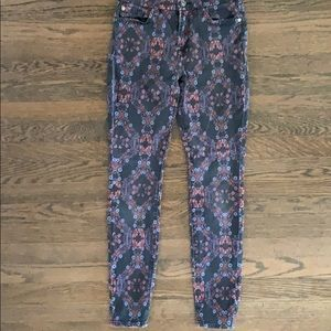 7 for all mankind flower print skinny jeans